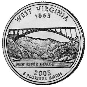 QUARTER COIN USA 25 CENTS WEST VIRGINIA STATE QUARTER 2005