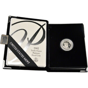 2002 W AMERICAN PLATINUM EAGLE PROOF 1/10 OZ $10 IN OGP