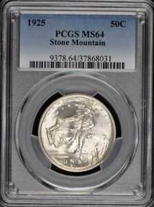 STONE MOUNTAIN 1925 50C SILVER COMMEMORATIVE PCGS MS64