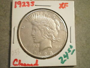 1923 S PEACE SILVER DOLLAR/ CLEANED   ][[]UNCERTIFIED[]][