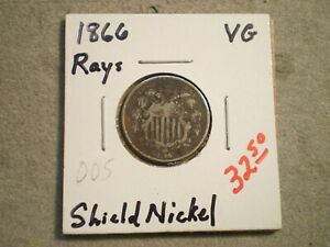 1866 SHIELD NICKEL/ RAYS   ' 'UNCERTIFIED' '    WITH