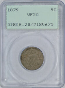 1879 5C SHIELD NICKEL PCGS VF 20 FINE RATTLER HOLDER TOUGH DATE