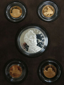 2009 LINCOLN COMMEMORATIVE PROOF SILVER DOLLAR & CHRONICLES 5 COIN SET