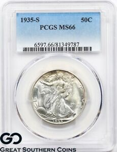 Click now to see the BUY IT NOW Price! 1935 S PCGS WALKING LIBERTY HALF DOLLAR MS 66    NICE BETTER DATE
