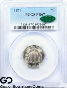 Click now to see the BUY IT NOW Price! 1874 PCGS PR 67 SHIELD NICKEL PCGS PROOF 67 CAC