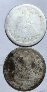 TWO SEATED LIBERTY US SILVER QUARTER DOLLARS. 1854 CLEANED AG & 1858 G ROUGH.