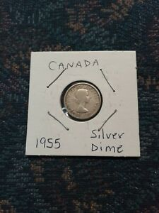 CANADA 1955 10 CENT SILVER COIN CIRCULATED