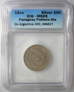 Click now to see the BUY IT NOW Price!  PARAGUAY 18XX 20 CENTS ON ARGENTINA 20C  PATTERN DIE  ICG MS65 2