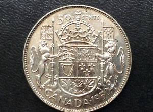 1950 CANADA FIFTY CENTS SILVER GEORGE VI CANADIAN COIN A1607