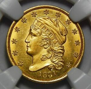 TOP POP     1831 NGC MS66   STAR  $2.50 CAPPED BUST GOLD   ONLY 2 KNOWN IN GRADE