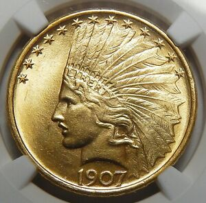 Click now to see the BUY IT NOW Price! 1907 NGC MS65 NO MOTTO $10 INDIAN HEAD GOLD