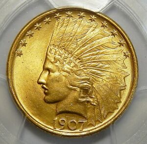 Click now to see the BUY IT NOW Price! 1907 PCGS MS65 NO MOTTO $10 INDIAN HEAD GOLD