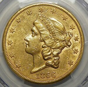 Click now to see the BUY IT NOW Price! 1866 S PCGS NO MOTTO AU55 $20 LIBERTY HEAD GOLD