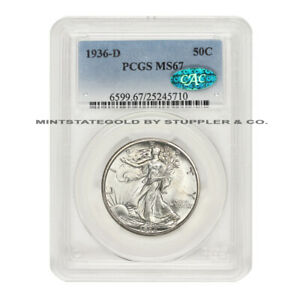 Click now to see the BUY IT NOW Price! 1936 D 50C WALKING LIBERTY PCGS MS67 GEM GRADED SILVER HALF DOLLAR CAC CERTIFIED