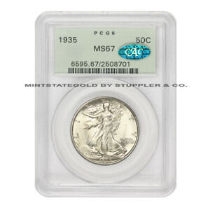 Click now to see the BUY IT NOW Price! 1935 50C SILVER WALKING LIBERTY PCGS MS67 ORIGINAL GREEN HOLDER CAC CERTIFIED