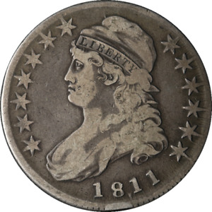 1811/10 BUST HALF DOLLAR PUNCTUATED DATE CHOICE F 0 101 R.1 GREAT EYE APPEAL