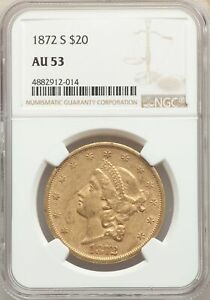 1872 S US GOLD $20 LIBERTY HEAD DOUBLE EAGLE   NGC AU53