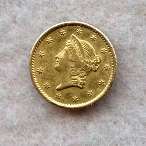1858   $1 LIBERTY GOLD DOLLAR   CH XF    REMAKE
