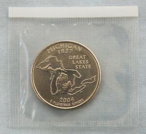 2004 P MICHIGAN STATE QUARTER UNCIRCULATED IN ORIGINAL MINT  9555