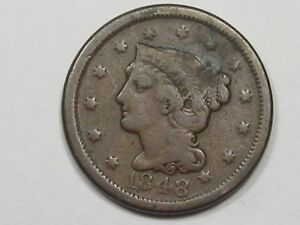 1848 US BRAIDED HAIR LARGE CENT COIN.  5
