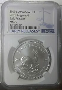 2019 S. AFRICA SILVER 1R SILVER KRUGERRAND EARLY RELEASES NGC MS 70. 4951826 015