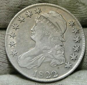1822/1 CAPPED BUST HALF DOLLAR 50 CENTS   NICE COIN   8807
