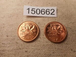 TWO 1965 CANADA ONE CENT COINS NICE HIGHER ALBUM GRADE EXAMPLES   150662