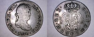 1820 GJ SPANISH 2 REALES WORLD SILVER COIN   SPAIN
