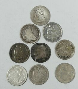 LOT X 9 DIFFERENT DATE SILVER HALF DIMES CULL OR BETTER   1830   1873