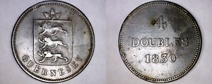 1830 GUERNSEY 4 DOUBLE WORLD COIN   WILLIAM IV