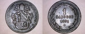 1851 VR ITALIAN STATES PAPAL STATES 1 BIAOCCO WORLD COIN