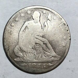 1855 WITH ARROWS SEATED LIBERTY US SILVER HALF DOLLAR. AG GOOD BENT.  LOT1