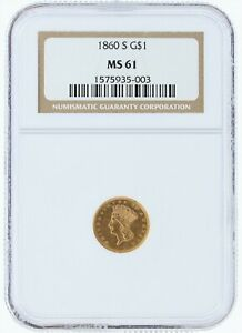 1860 S GOLD DOLLAR NGC MS61 G$1