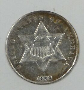 BARGAIN 1859 SILVER THREE CENT PIECE ALMOST UNCIRCULATED 3C TRIME