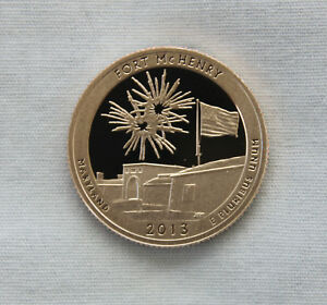2013 S FORT MCHENRY CLAD PROOF ATB QUARTER CAMEO