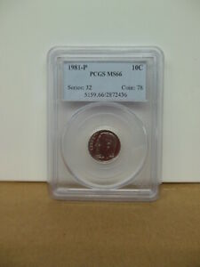 1981 P ROOSEVELT DIME PCGS MS 66 BUSINESS STRIKE   NICE COIN  FREE U.S.SHIPPING