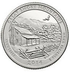 2014 D GREAT SMOKY MOUNTAINS NATIONAL PARK QUARTER   BRILLIANT UNCIRCULATED