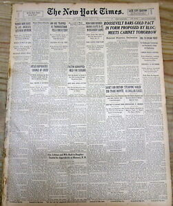 1933 NY TIMES NEWSPAPER W NUMISMATICS 1933 $20 US DOUBLE EAGLE GOLD COINS MINTED