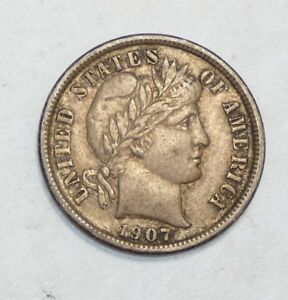 1907 BARBER DIME ALMOST UNCIRCULATED SILVER 10C