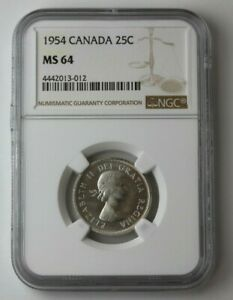 Click now to see the BUY IT NOW Price! 1954 CANADA SILVER 25 CENTS ELIZABETH II NGC MS 64 74452JR