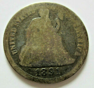 1891 SEATED LIBERTY US SILVER DIME AG
