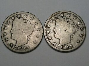 2 BETTER DATE US LIBERTY NICKELS: 1884 & 1887  LAMINATION .  115