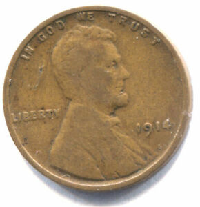 U.S. 1914 LINCOLN WHEAT PENNY   AMERICAN ONE CENT COIN   PHILADELPHIA MINT