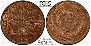 Click now to see the BUY IT NOW Price! URUGUAY 5 CENTESIMOS 1857 D MS65 RB PCGS KM8 FINEST POP 1/0
