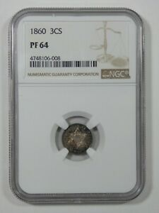 1860 THREE CENT SILVER PIECE CERTIFIED NGC PROOF 64 3C TRIME