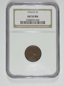 1914 D LINCOLN/WHEAT EARS REVERSE CENT  CERTIFIED NGC AU 55 BROWN