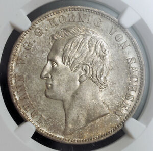 Click now to see the BUY IT NOW Price! 1862 SAXONY ALBERTINE JOHN OF SAXONY. BEAUTIFUL SILVER THALER COIN. NGC MS 63