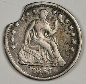 1857 LIBERTY SEATED HALF DIME.  ERROR.  LARGE MINT CLIPPED PLANCHET. VF  142904