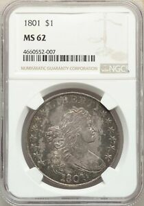 Click now to see the BUY IT NOW Price! 1801 $1 DRAPED BUST DOLLAR   NGC MS62 CERTIFIED US  COIN