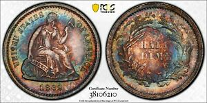 1862 LIBERTY SEATED DIME 10C PCGS CERTIFIED AU 58 ABOUT UNCIRCULATED  210